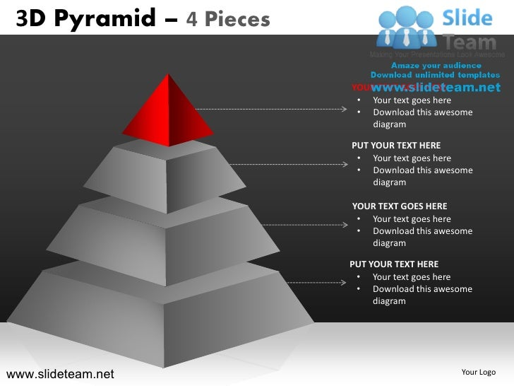 3d pyramid stacked shapes chart 4 pieces powerpoint presentation temp. Black Bedroom Furniture Sets. Home Design Ideas