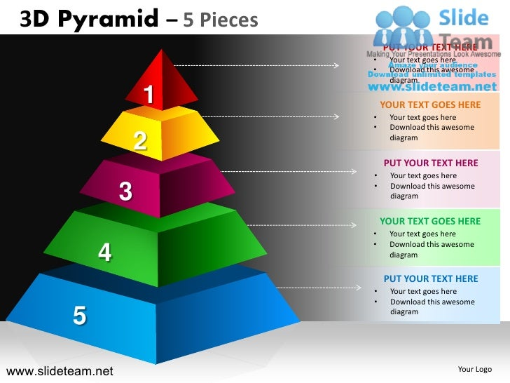 3d pyramid stacked shapes chart 5 pieces powerpoint ppt slides. Black Bedroom Furniture Sets. Home Design Ideas
