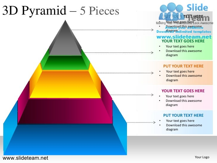 3d pyramid stacked shapes chart 5 pieces powerpoint presesntation tem…, Powerpoint templates
