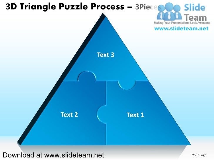 3D Triangle Puzzle Process 3Pieces Text 3