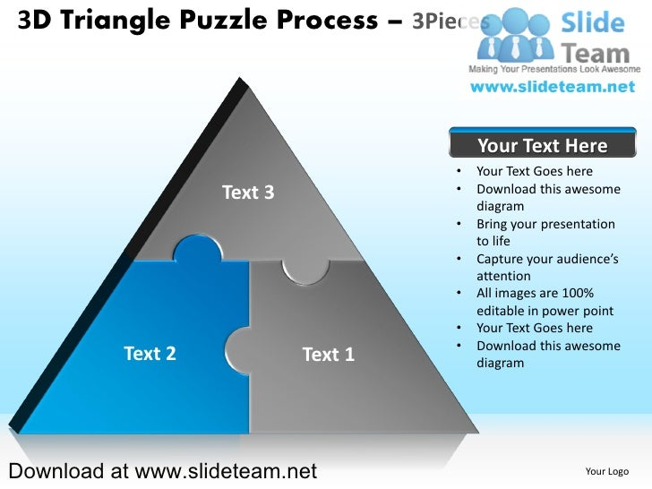 3 d pyramind triangle built out of puzzle pieces puzzle process 3 pie