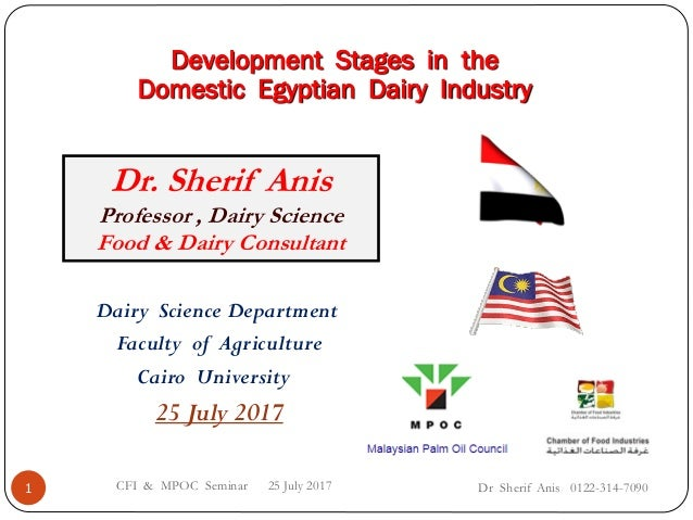 Dr Sherif Anis 0122-314-7090CFI & MPOC Seminar 25 July 20171 Dairy Science Department Faculty of Agriculture Cairo Univers...