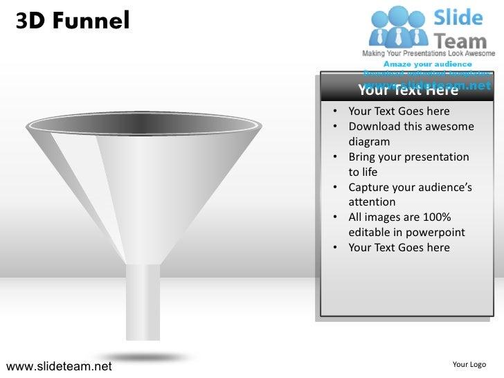 3d sales funnel powerpoint ppt slides., Modern powerpoint