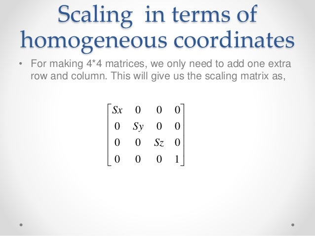 3 d scaling and translation in homogeneous coordinates