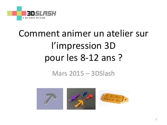 Comment animer un atelier sur l'impression 3D pour les 8-12 ans ? Mars 2015 – 3DSlash 1