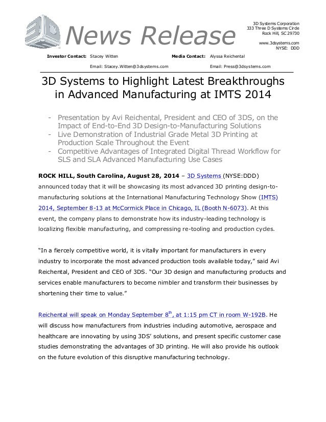 3D Systems Highlights at the International Manufacturing