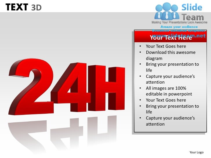 TEXT 3D              Your Text Here          • Your Text Goes here          • Download this awesome            diagram    ...