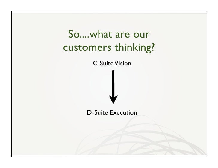 So....what are our customers thinking?       C-Suite Vision         D-Suite Execution