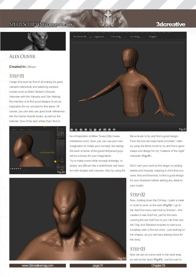 3 dtotal speed sculpting - z-brush tutorial ebook