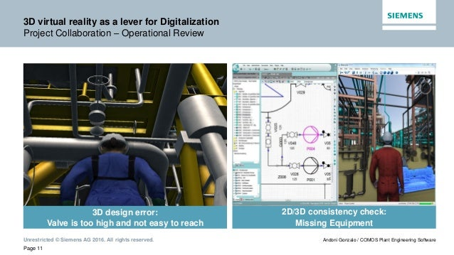 Unrestricted © Siemens AG 2016. All rights reserved. Page 11 Andoni Gonzalo / COMOS Plant Engineering Software 3D virtual ...