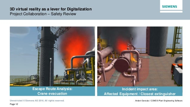 Unrestricted © Siemens AG 2016. All rights reserved. Page 12 Andoni Gonzalo / COMOS Plant Engineering Software 3D virtual ...