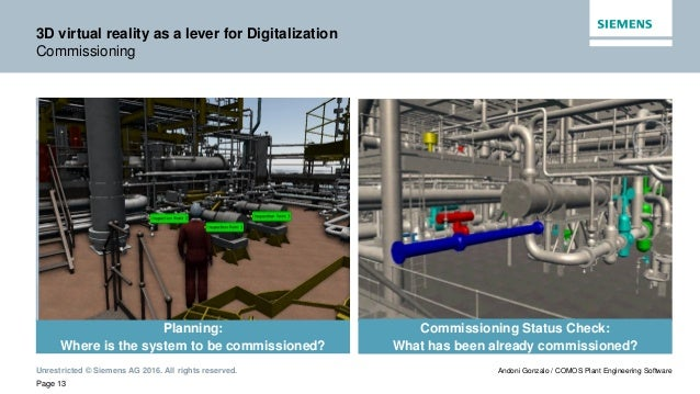 Unrestricted © Siemens AG 2016. All rights reserved. Page 13 Andoni Gonzalo / COMOS Plant Engineering Software 3D virtual ...