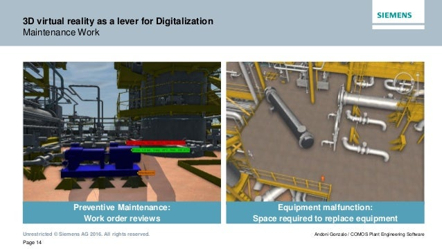 Unrestricted © Siemens AG 2016. All rights reserved. Page 14 Andoni Gonzalo / COMOS Plant Engineering Software 3D virtual ...