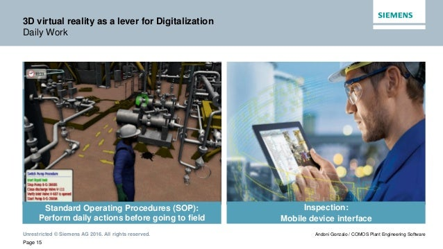 Unrestricted © Siemens AG 2016. All rights reserved. Page 15 Andoni Gonzalo / COMOS Plant Engineering Software 3D virtual ...