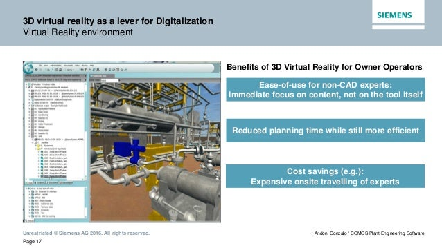 Unrestricted © Siemens AG 2016. All rights reserved. Page 17 Andoni Gonzalo / COMOS Plant Engineering Software 3D virtual ...