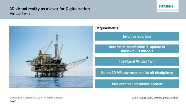 Unrestricted © Siemens AG 2016. All rights reserved. Page 9 Andoni Gonzalo / COMOS Plant Engineering Software 3D virtual r...