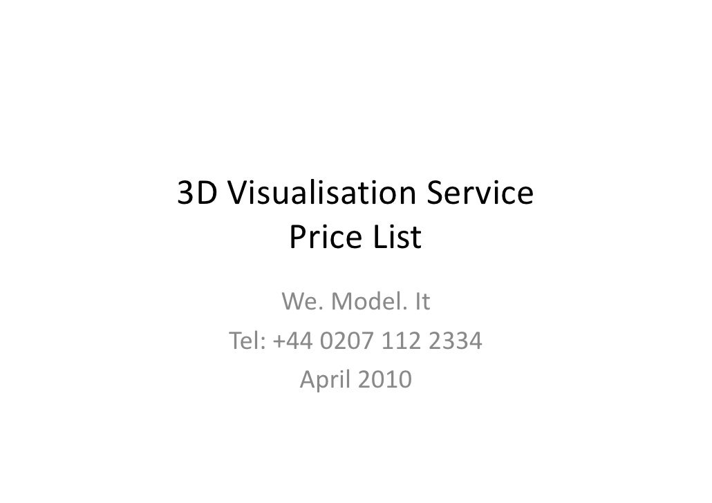 3 d visualisation service price list
