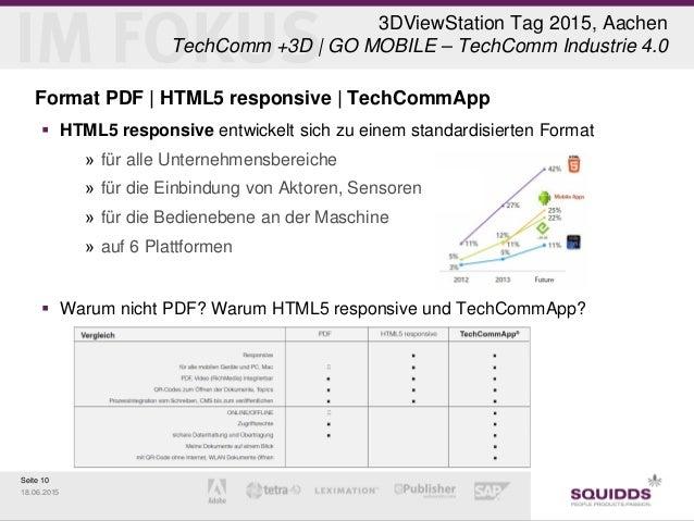 Seite 10 18.06.2015 3DViewStation Tag 2015, Aachen TechComm +3D | GO MOBILE – TechComm Industrie 4.0 Format PDF | HTML5 re...