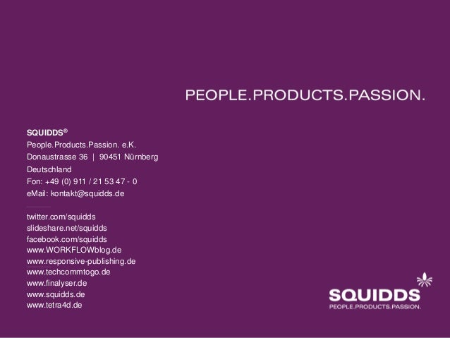 SQUIDDS® People.Products.Passion. e.K. Donaustrasse 36 | 90451 Nürnberg Deutschland Fon: +49 (0) 911 / 21 53 47 - 0 eMail:...