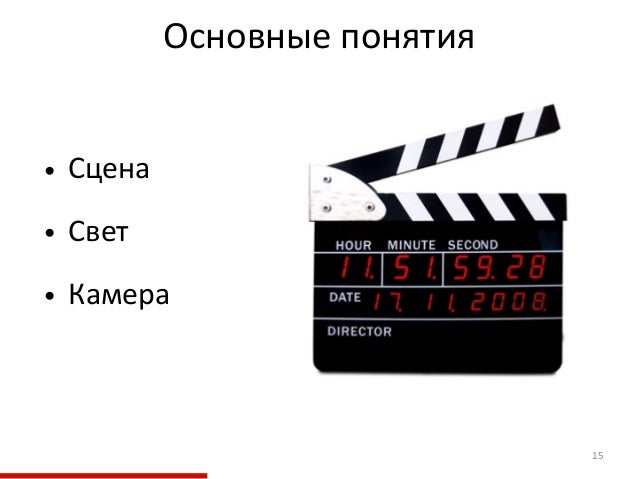 Основные понятия • Сцена  • Свет  • Камера 15
