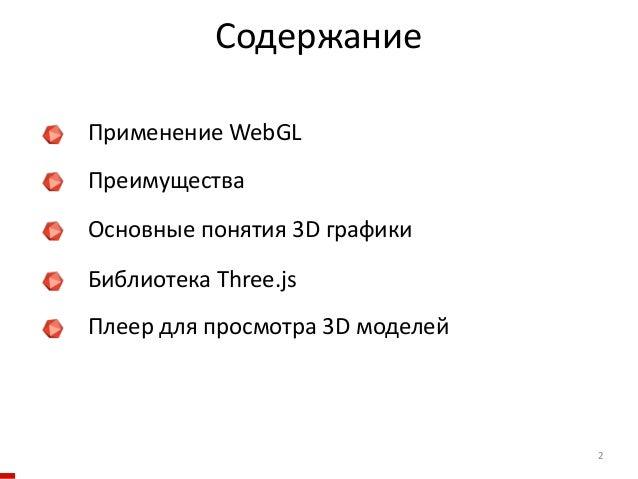 Содержание 2     Применение WebGL     Преимущества     Основные понятия 3D графики     Библиотека Thr...