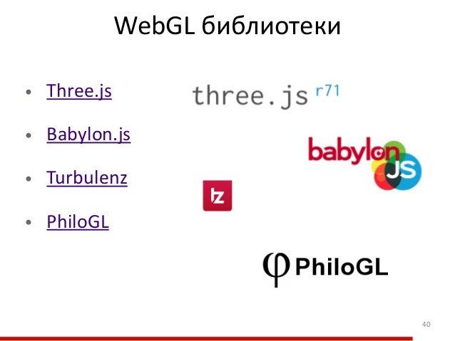 WebGL библиотеки •  Three.js  •  Babylon.js  •  Turbulenz  •  PhiloGL 40