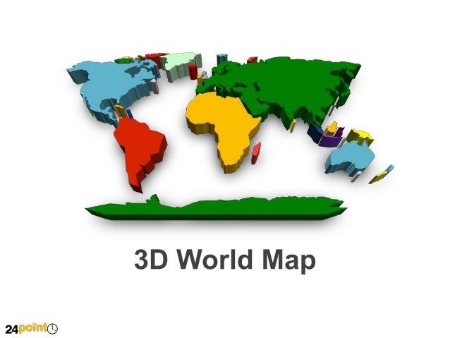 3D World Map Fully Editable PowerPoint