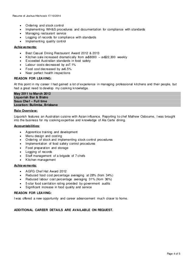 resume for apprentice chef