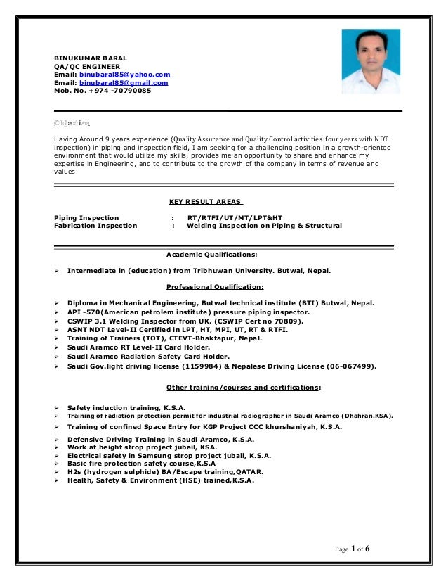 Binukumar Resume Qa Qc Engineer
