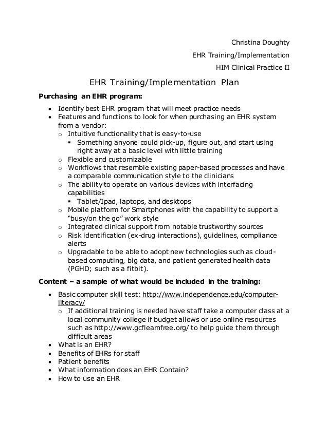 Ehr training plan for End user training plan template
