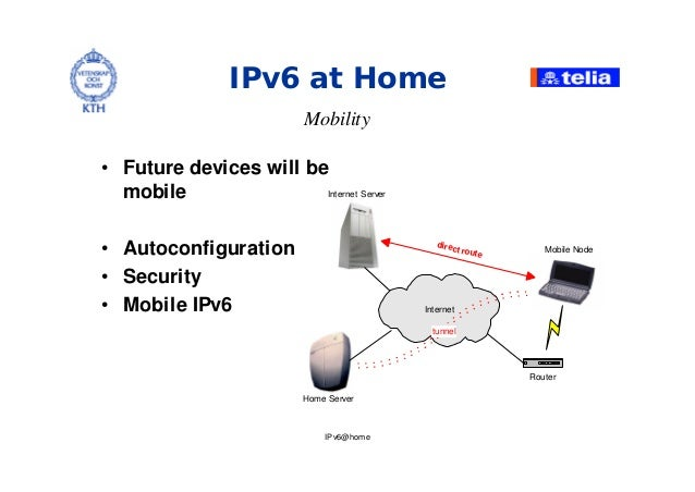 IPv6@home IPv6 at Home Mobility • Future devices will be mobile • Autoconfiguration • Security • Mobile IPv6 Router Mobile...