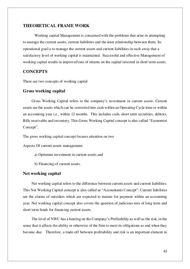 Working Capital Management – Format of Working Capital