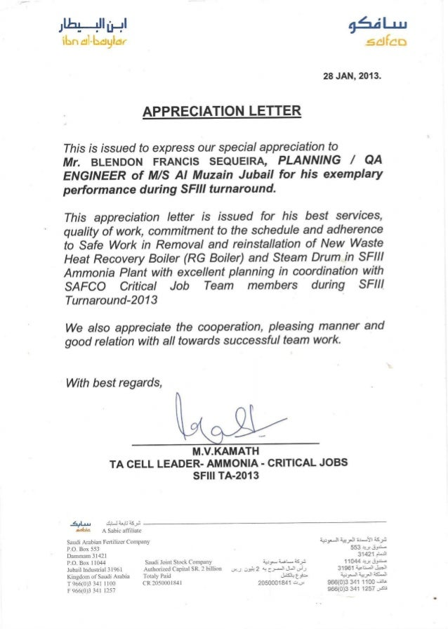Appreciation Letter | Client Appreciation Letters And Certificates