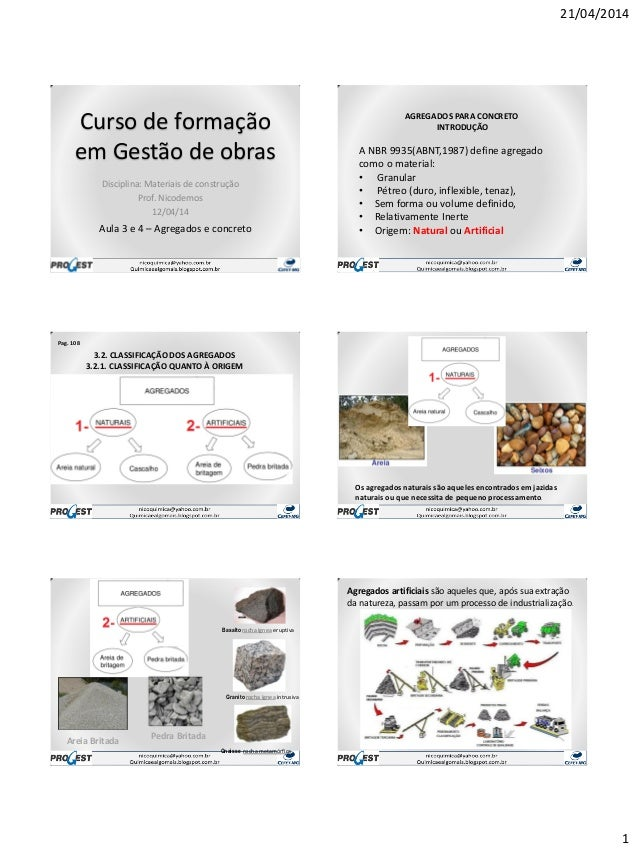 21/04/2014 1 Curso de formação em Gestão de obras Disciplina: Materiais de construção Prof. Nicodemos 12/04/14 Aula 3 e 4 ...