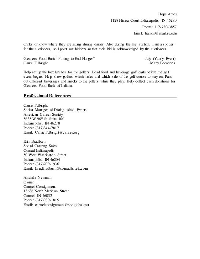 resume and references