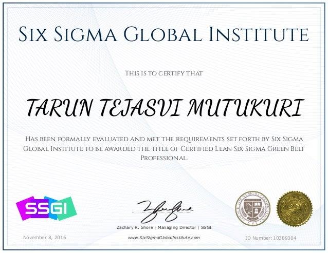 Lean Six Sigma Green Belt Certificate