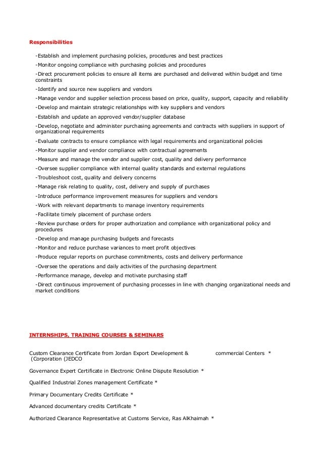 purchase manager cv