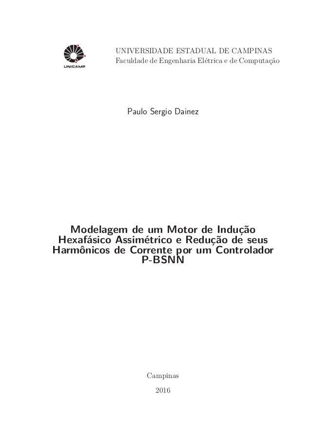 UNIVERSIDADE ESTADUAL DE CAMPINAS Faculdade de Engenharia Elétrica e de Computação Paulo Sergio Dainez Modelagem de um Mot...