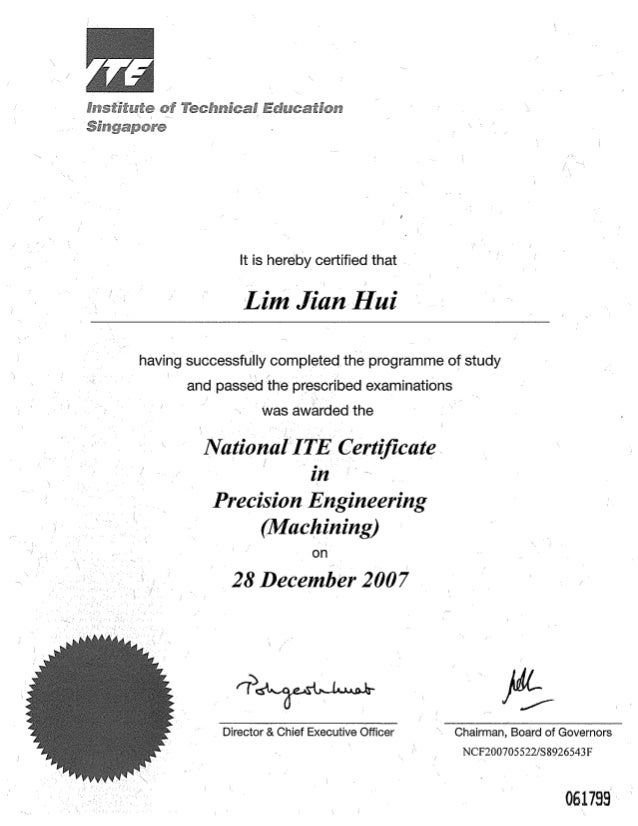 ITE Certificate Of Merit  Merit Certificate Comments