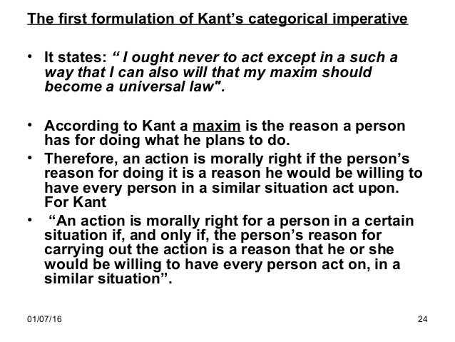 three formulations of the categorical imperative