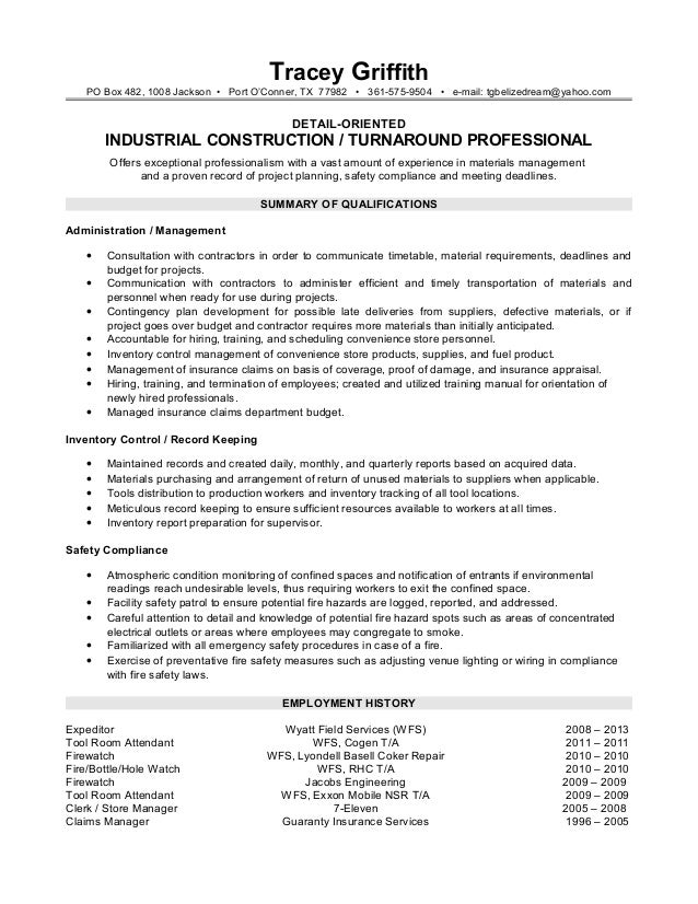 Tracey Griffith Resume (1-Page Skills Based) Word 97-2003