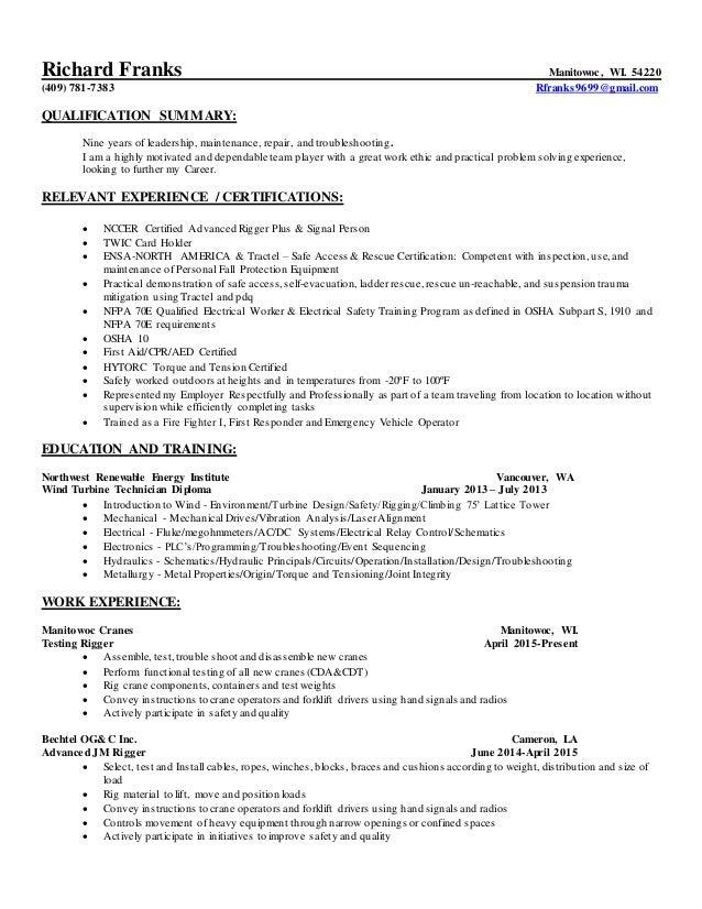 Richard W Franks Resume 8-15