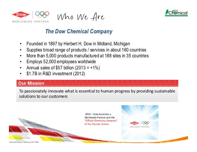 A description of the dow chemical company founded in 1897 by herbert h dow