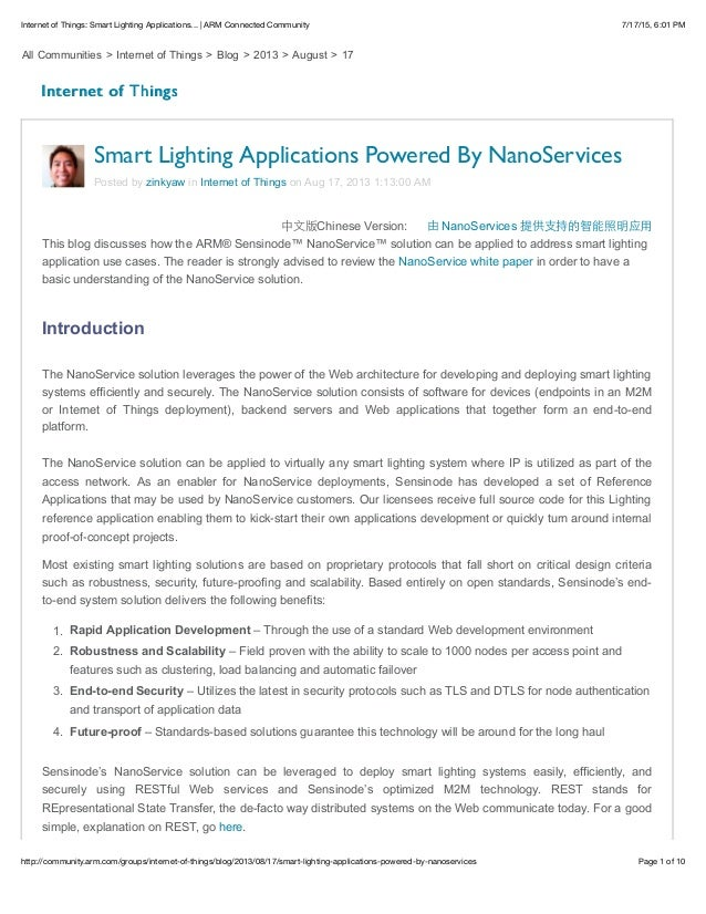 7/17/15, 6:01 PMInternet of Things: Smart Lighting Applications...   ARM Connected Community Page 1 of 10http://community....