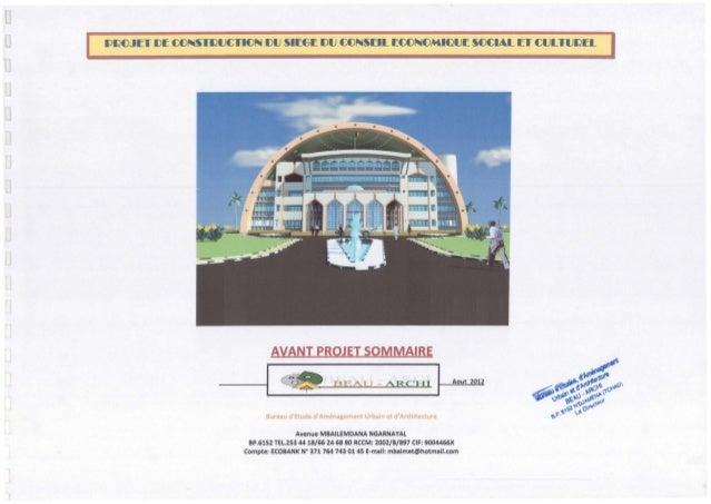 - AVANT PROJET SOMMAIRE ------11ce BlE. [ T - ARCHI I Aout 2012 Bureau d'Etude d'Amenagement Urbain et d'Architecture Aven...