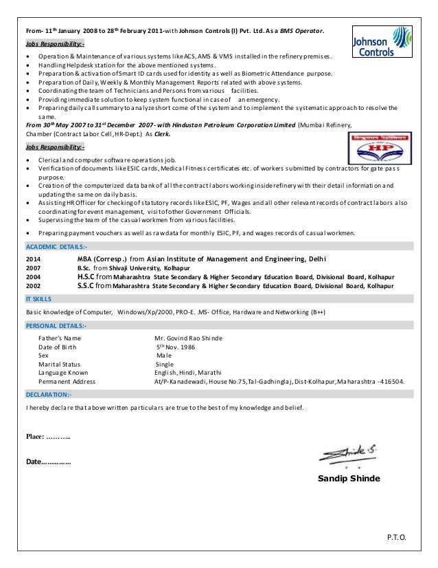 Bms Resume Gallery Resume Format Examples 2018