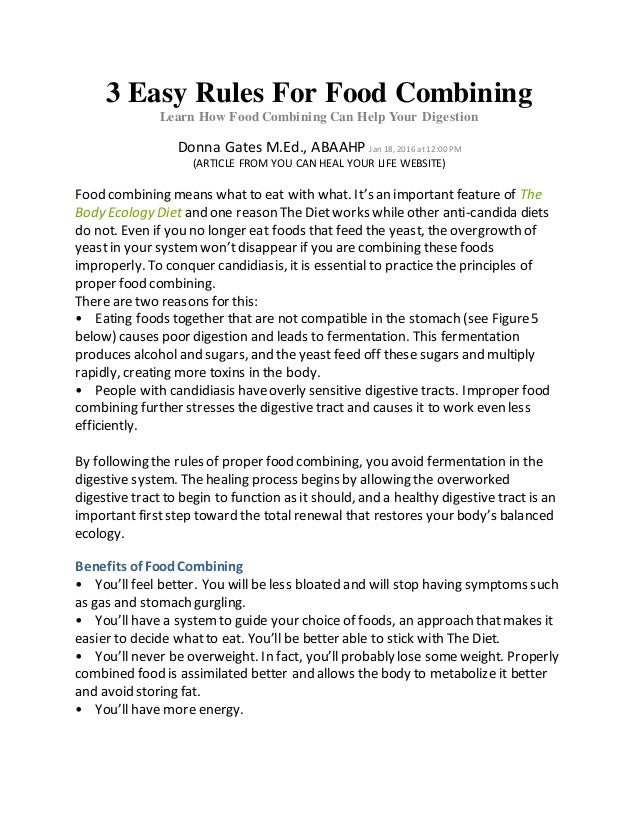 3 Easy Rules For Food Combining Learn How Food Combining Can Help Your Digestion Donna Gates M.Ed., ABAAHP Jan 18, 2016 at...