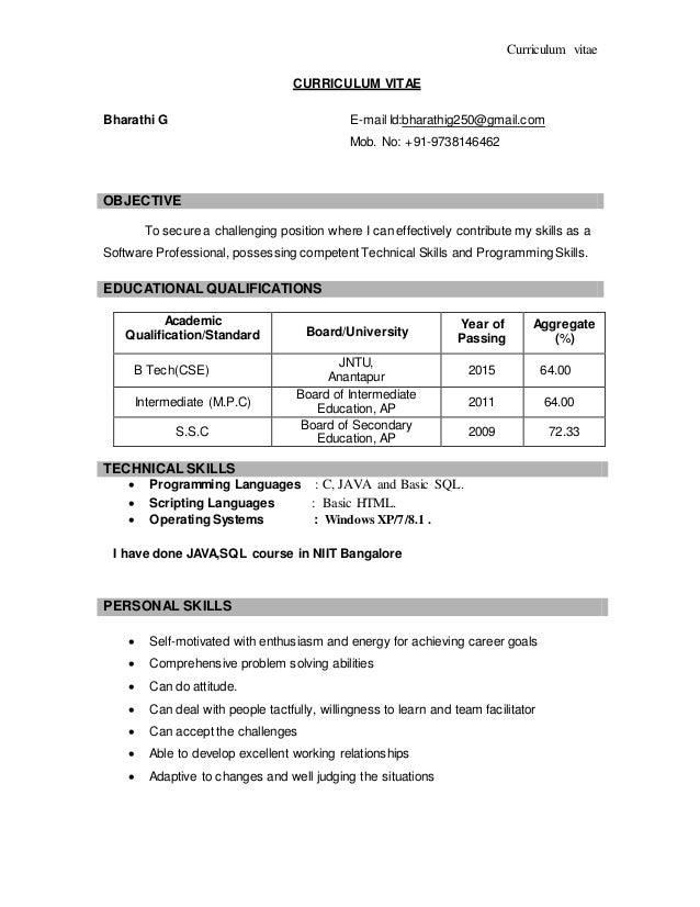 bharathi resume
