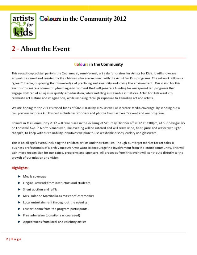 SPONSORSHIP proposal sample Colours in the Community – Sample of a Sponsorship Proposal