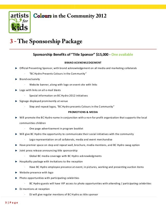 SPONSORSHIP proposal sample Colours in the Community – Sample Sponsorship Proposal Package